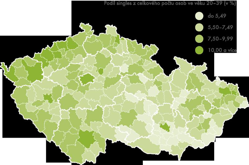 Zastoupení singles ve správních obvodech obcí srozšířenou působností, 2011