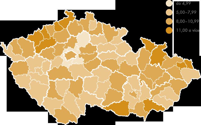 Podíl nezaměstnaných na počtu obyvatel vokresech ČR k31. 3. 2014 (v%)