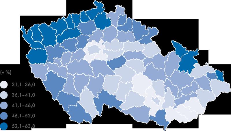 Podíl dětí narozených mimo manželství vČR vroce 2012