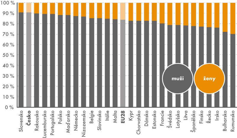 IT odborníci podle pohlaví vzemích EU28, 2013