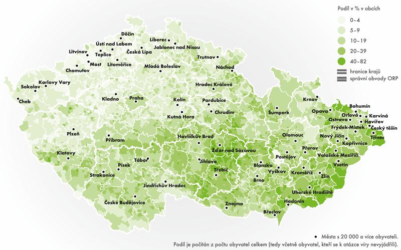 Podíl věřících hlásících se kcírkvi, náboženské společnosti – podle definitivních výsledků SLDB 2011 (%)