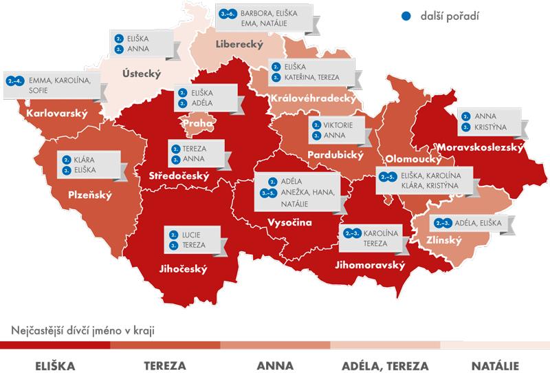 Nejčastější dívčí jména – rozdíly vkrajích vČR, leden 2015