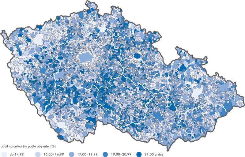 Obyvatelstvo ve věku 65 a více let podle obcí ČR k 31. 12. 2014