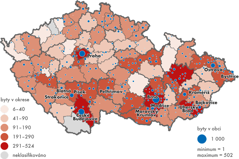 Počet dokončených bytů vdomech pro seniory adomovech-penzionech vobcích aokresech ČR, 2000 až 2014