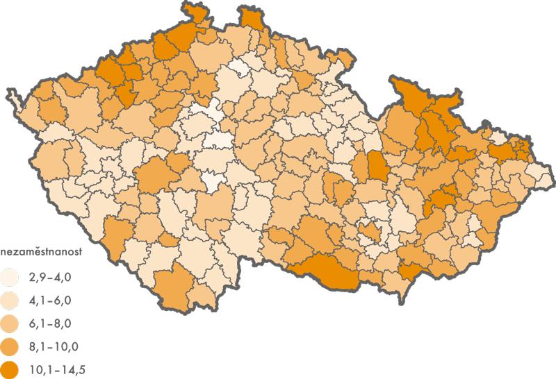 Podíl nezaměstnaných osob ve správních obvodech obcí srozšířenou působností k31. 12. 2014 (v%)