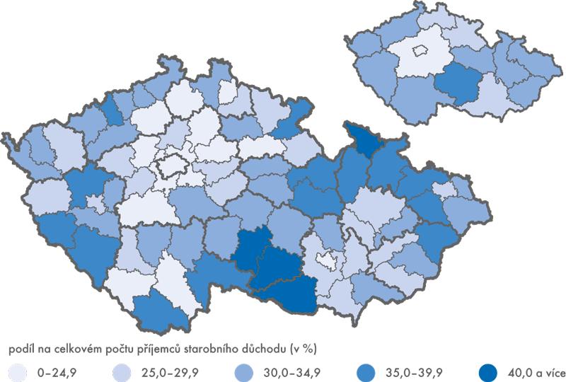Příjemci předčasných starobních důchodů (bez souběhu) podle okresů a krajů, prosinec 2014