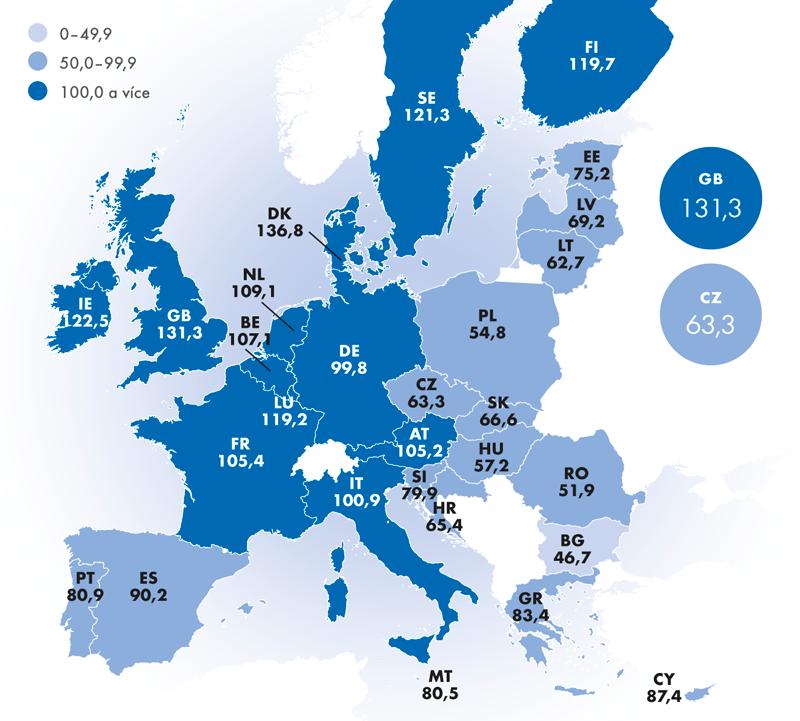 Komparativní cenové úrovně včlenských zemích EU28 vroce 2015 (v%, EU28 = 100)