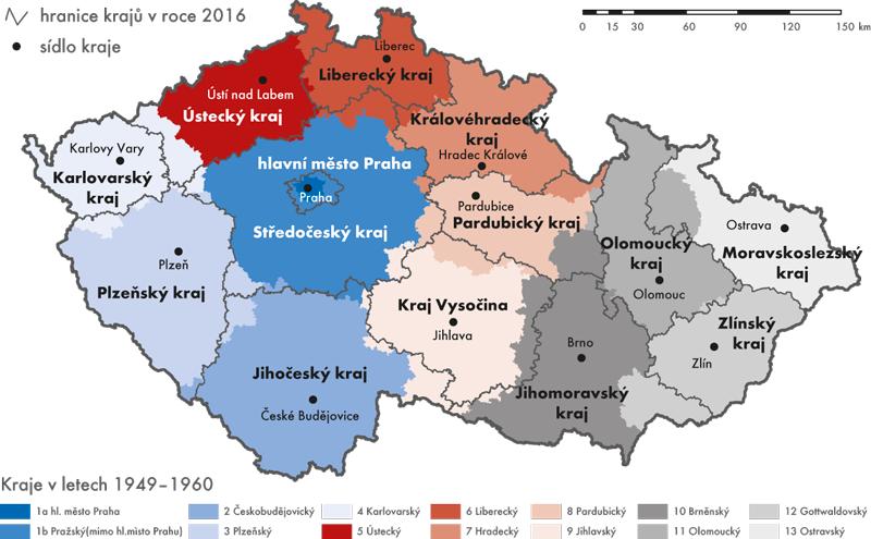 Porovnání území současných krajů skraji platnými vletech 1949–1960