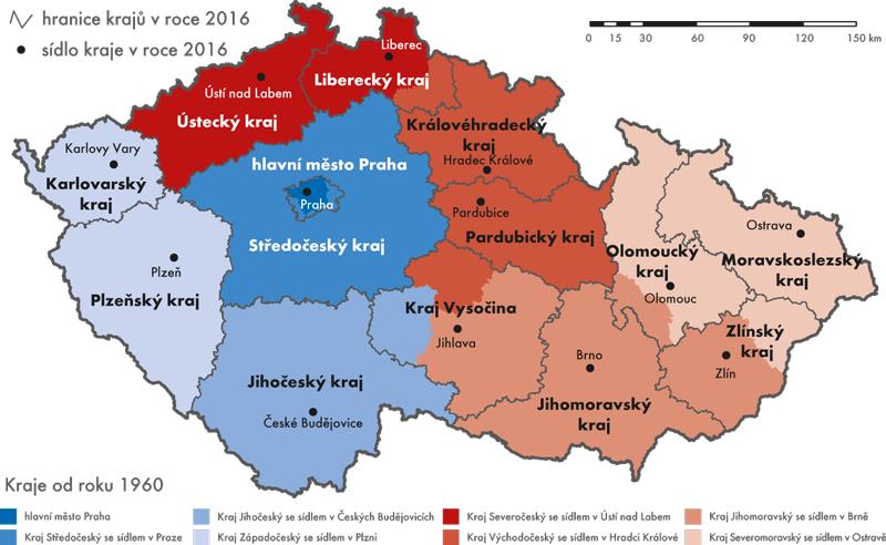 Porovnání území současných krajů skraji platnými od roku 1960
