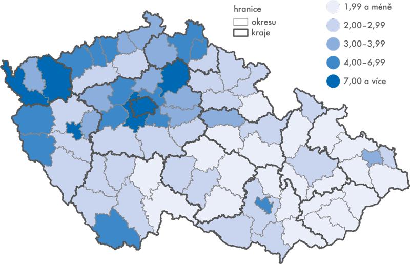 Podíl cizinců na obyvatelstvu ČR k31. 12. 2015 (v%)