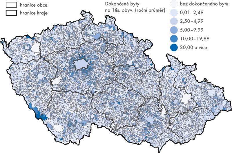 Bytová výstavba vobcích ČR vletech 2010 až 2015