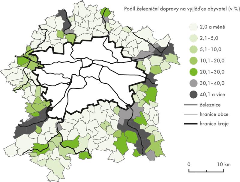 Podíl železniční dopravy na vyjížďce obyvatel vroce 2001 (vyjížďka obyvatel zobcí vzázemí Prahy do hlavního města)