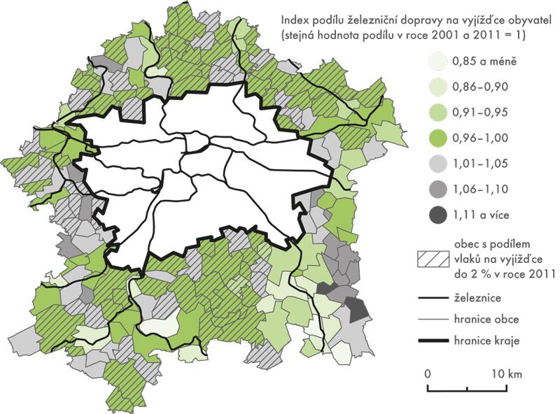 Vývoj podílu železniční dopravy na vyjížďce obyvatel mezi lety 2001 a2011 (vyjížďka obyvatel zobcí vzázemí Prahy do hlavního města)