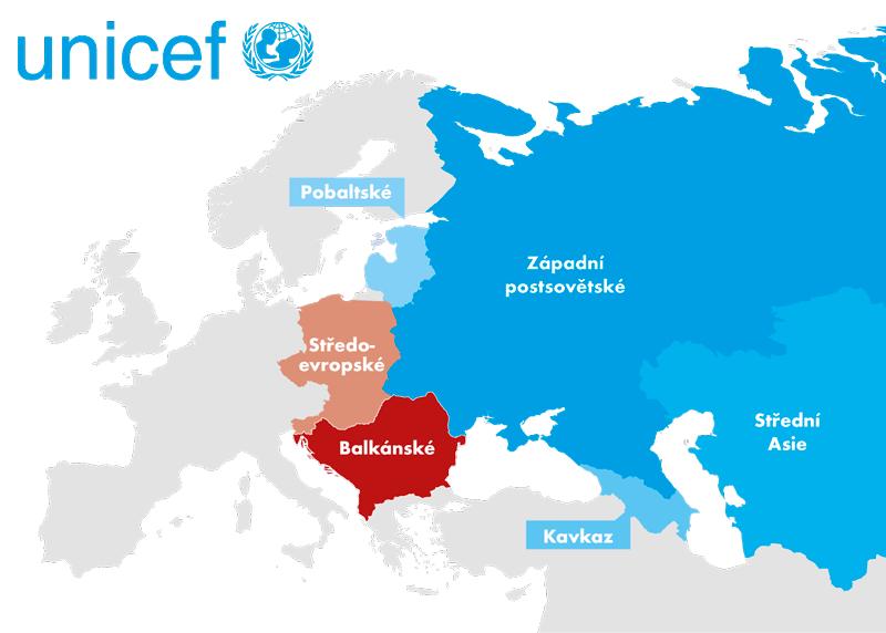 Tranzitní země podle dělení UNICEF