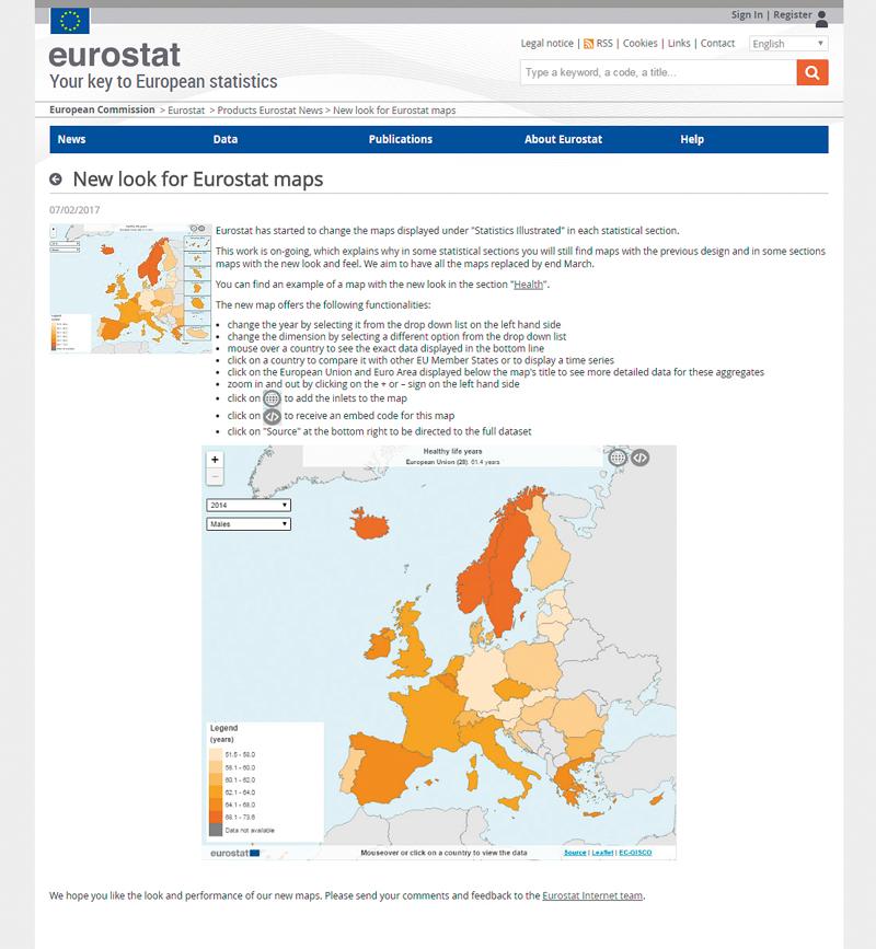 Nový vzhled map na stránkách Eurostatu.