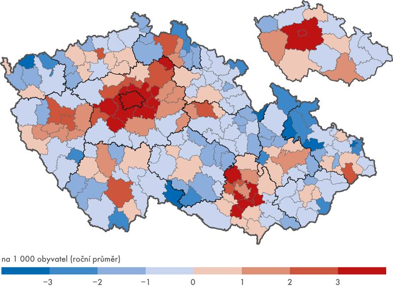 Přírůstek/úbytek stěhováním obyv. ve věku do 29 let podle SO ORP, 2011–2016