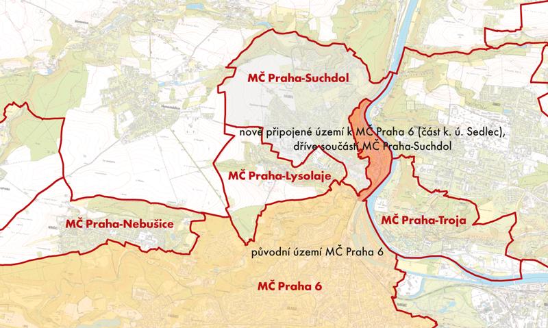 Území, které přešlo zMČ Praha-Suchdol do MČ Praha 6 (červeně vyznačeno)