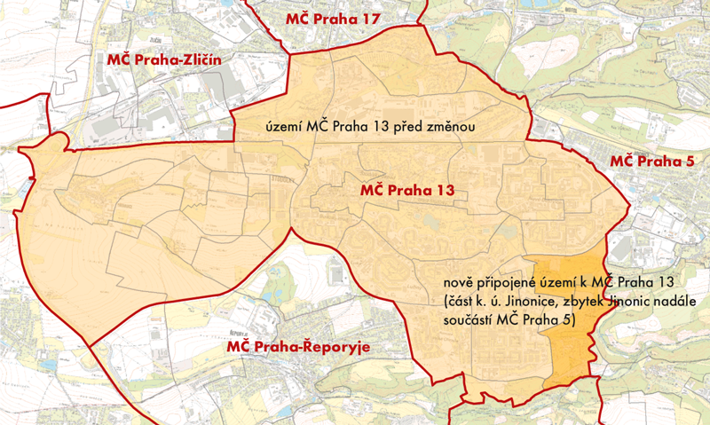 Území, okteré se zvětšila MČ Praha 13 na úkor MČ Praha 5 (červeně, stav ZSJ je platný zroku 2001)