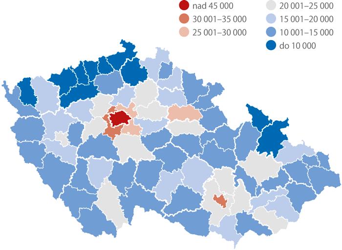 průměrné kupní ceny bytů podle okresů, 2014–2016 (Kč/m2)