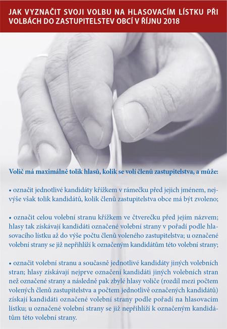 Jak vyznačit svoji volbu nahlasovacím lístku při volbách dozastupitelstev obcí vříjnu 2018