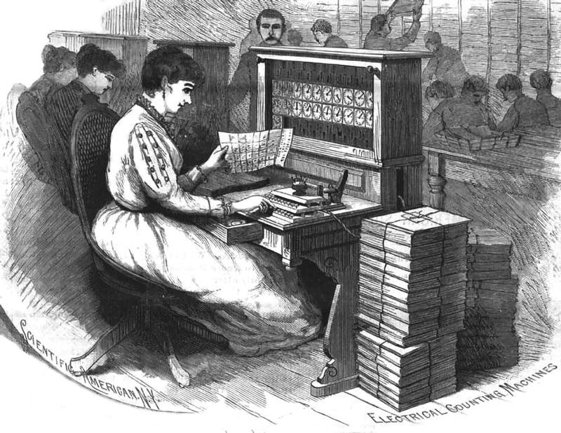 Sčítací stroj Hollerith aděrný štítek.