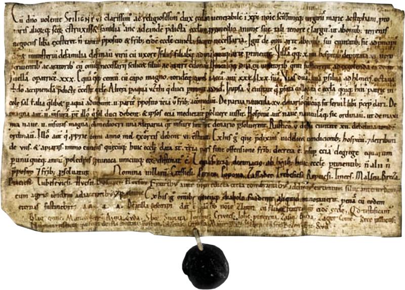 Zakládací listina kostela sv. Štěpána vLitoměřicích, rok 1058.