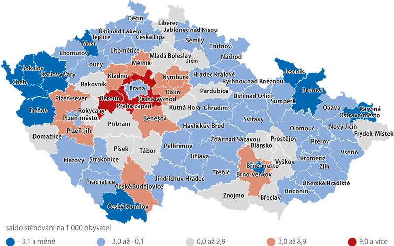 Saldo stěhování podle okresů vletech 2005–2017 (na 1000 obyvatel k1. 7.)