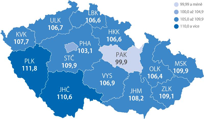 Příjezdy hostů do hromadných ubytovacích zařízení podle krajů – meziroční index 2018/2017 (%)