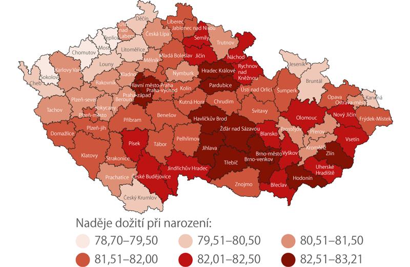 Naděje dožití žen při narození vokresech vobdobí 2014–2018