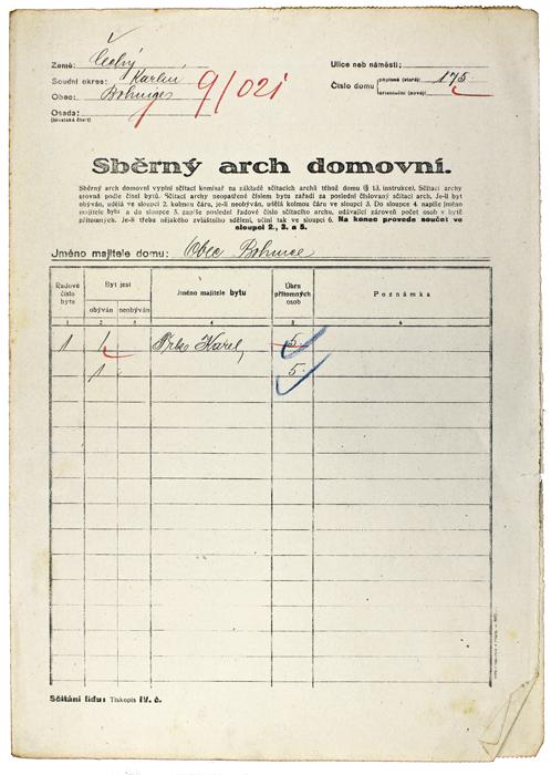 Sběrný arch domovní použitý při sčítání roku 1921.
