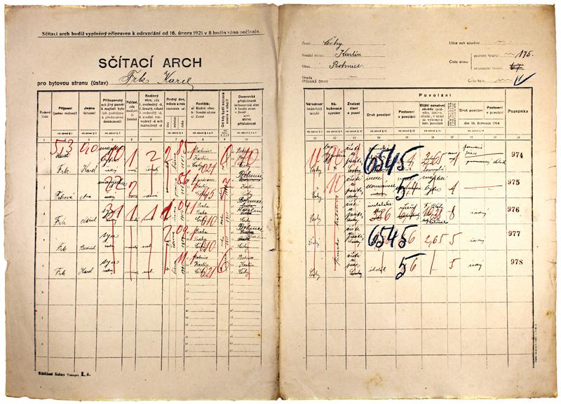 Sčítací arch zroku 1921.