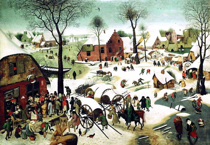Pieter Brueghel st.: Sčítání lidu v Betlémě (výřez).