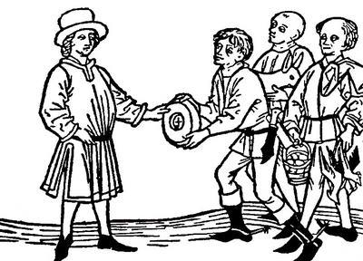 Vybírání naturálních daní ve středověku.