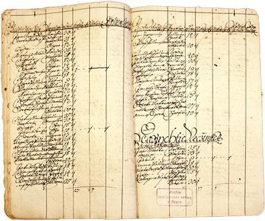 Originál zápisu ze Soupisu poddaných podle víry z roku 1651.