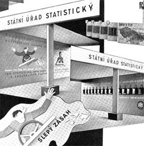 Ukázky statistických expozic na hospodářských výstavách v Praze v letech 1934–1936.
