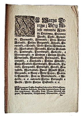Titulní list patentu císařovny Marie Terezie z 10. března 1770.