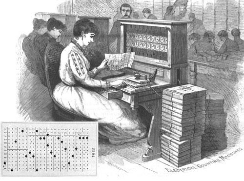 Sčítací stroj Hollerith a děrný štítek.