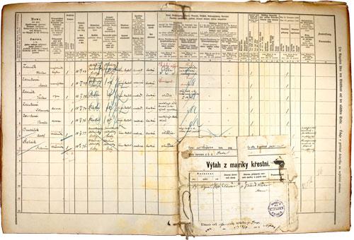 Zapsané hodnoty ze sčítání roku 1890.