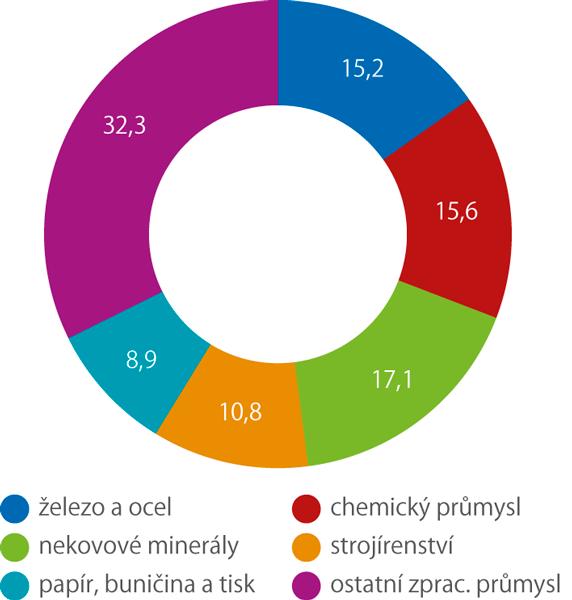 Spotřeba paliv aenergií ve zpracovatelském průmyslu (%, 2017)