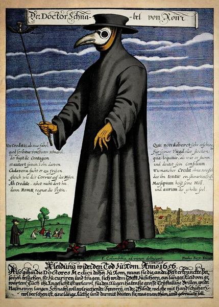 Středověký doktor vmasce se zobanem, do kterého se dávaly vonné byliny, aby nebyl cítit zápach rozkládajících se těl. (autor Paul Fürst)