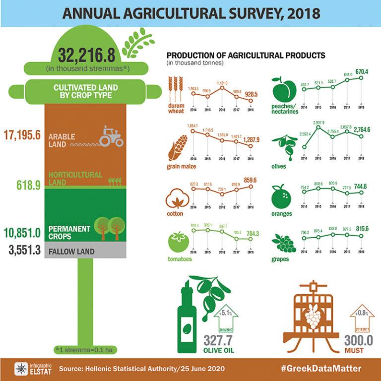 ELSTAT: Výsledky zemědělských statistik v infografikách